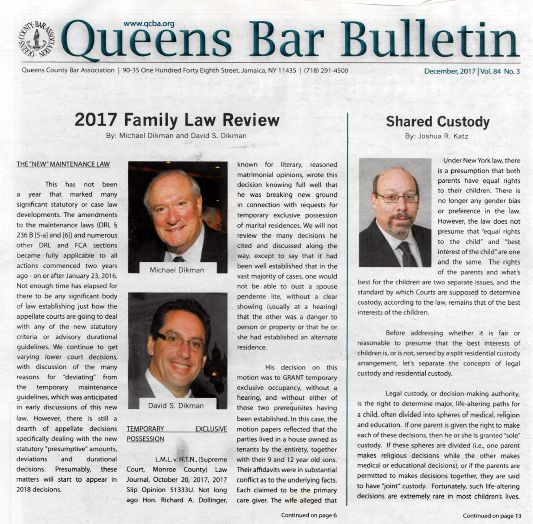 Queens Bar Bulletin 2017 Family Law Review
